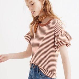 Madewell Striped Ruffle Short Sleeve Tee SZ Small